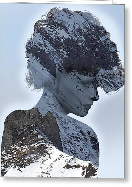 Woman And A Snowy Mountain Greeting Card