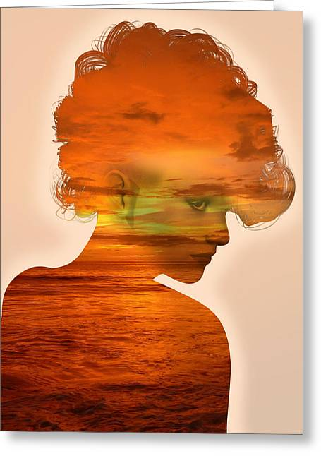 Woman And A Sunset Greeting Card