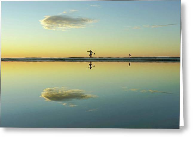 Woman And Cloud Reflected On Beach Lagoon At Sunset Greeting Card
