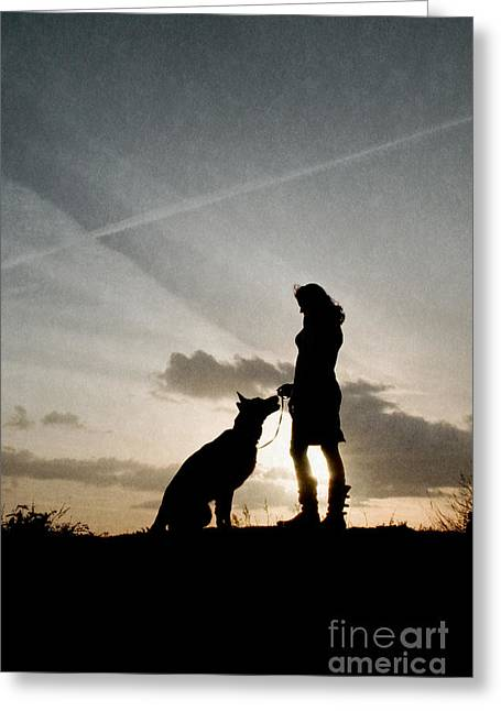 Woman And Dog  Greeting Card