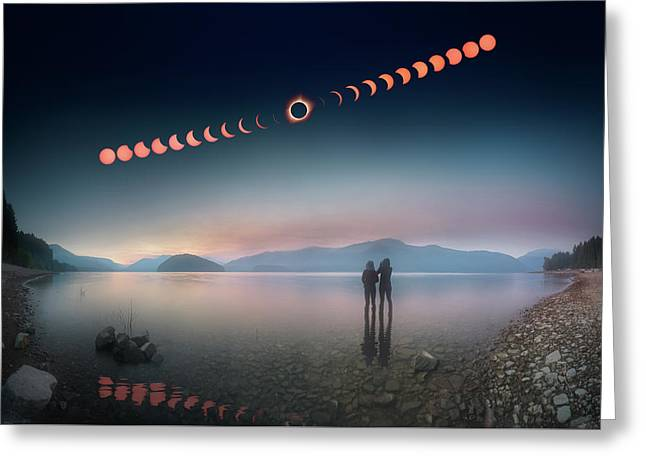 Woman And Girl Standing In Lake Watching Solar Eclipse Greeting Card