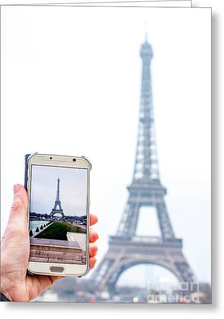 Woman Anonymous Photographing The Eiffel Tower. Paris. France. Europe. Greeting Card by Bernard Jaubert