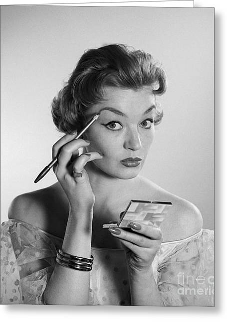Woman Applying Makeup, C.1950-60s Greeting Card by Corry/ClassicStock