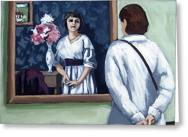 Woman At Art Museum Figurative Painting Greeting Card by Linda Apple