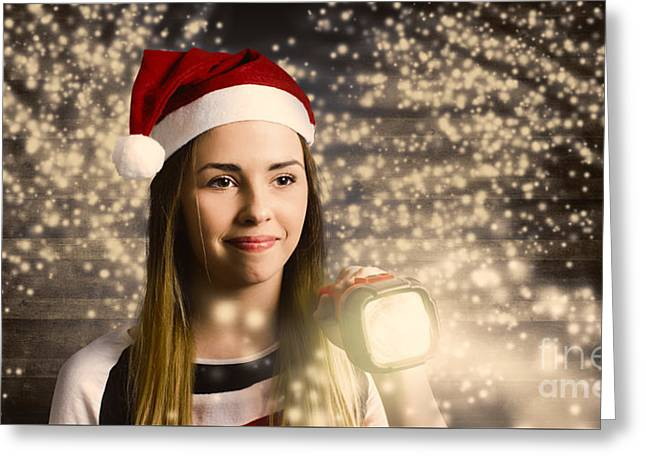 Woman At Christmas Light House Tour Greeting Card