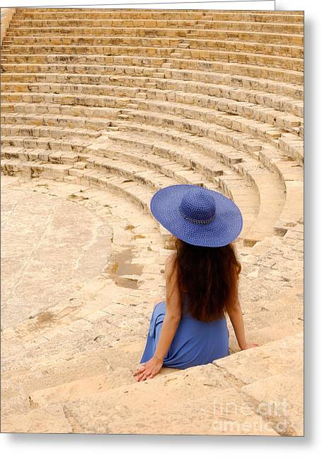 Woman At Greco-roman Theatre At Kourion Archaeological Site In C Greeting Card by Oleksiy Maksymenko