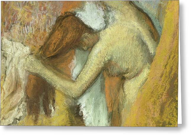 Woman At Her Toilette Greeting Card by Edgar Degas