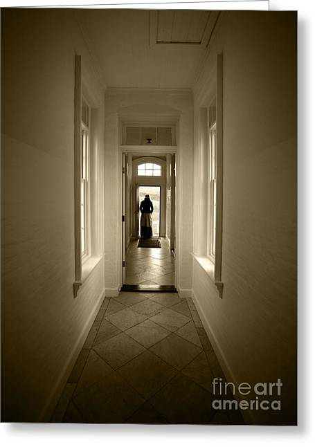 Woman At The Door Greeting Card