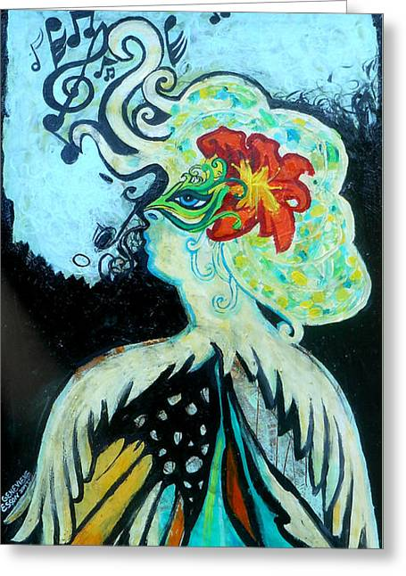 Woman At The Masquerade Ball Greeting Card by Genevieve Esson