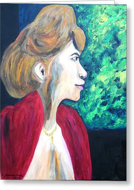 Greeting Card featuring the painting Woman At The Window by Esther Newman-Cohen