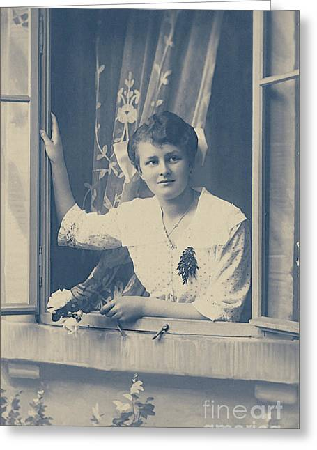 Woman At The Window Greeting Card