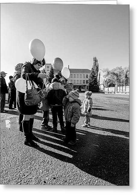 Greeting Card featuring the photograph Woman Balloon And Boy by John Williams