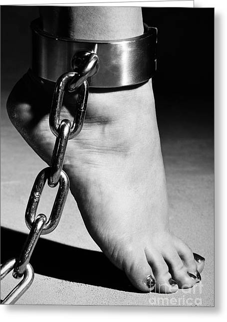 Woman Barefoot In Steel Cuffes Greeting Card