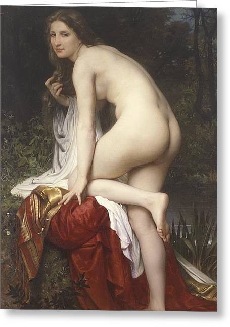 Woman Bathing Greeting Card by  William Adolphe Bouguereau