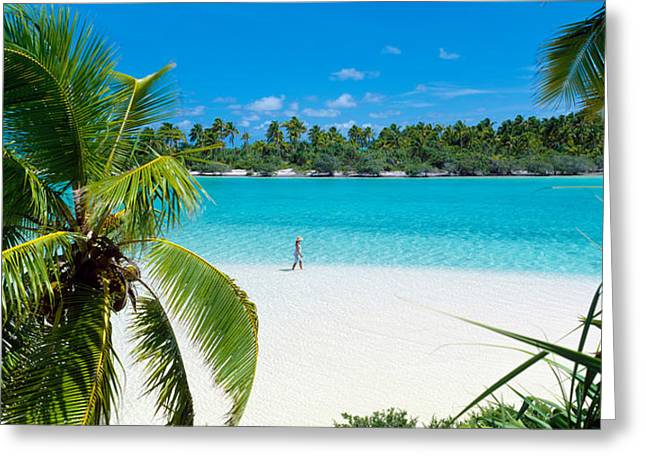 Woman Beach One Foot Island Cook Islands Greeting Card by Panoramic Images