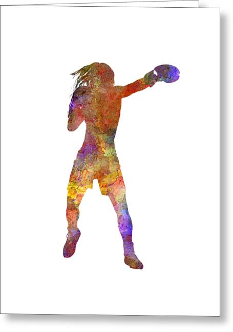 Woman Boxer Boxing Kickboxing Silhouette Isolated 03 Greeting Card