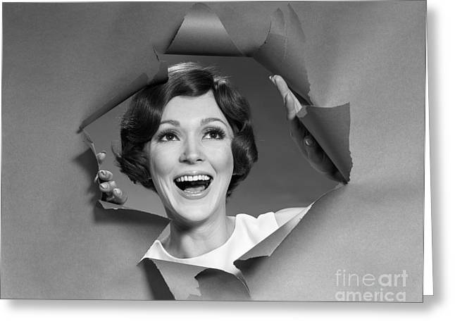 Woman Breaking Through Paper, C.1960-70s Greeting Card by H. Armstrong Roberts/ClassicStock