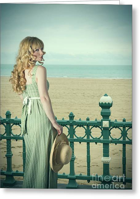 Woman By Railings At The Beach Greeting Card by Amanda Elwell