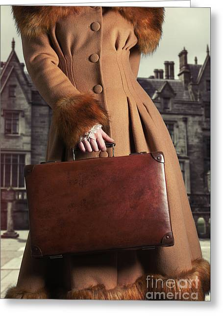 Woman Carrying Suitcase Greeting Card