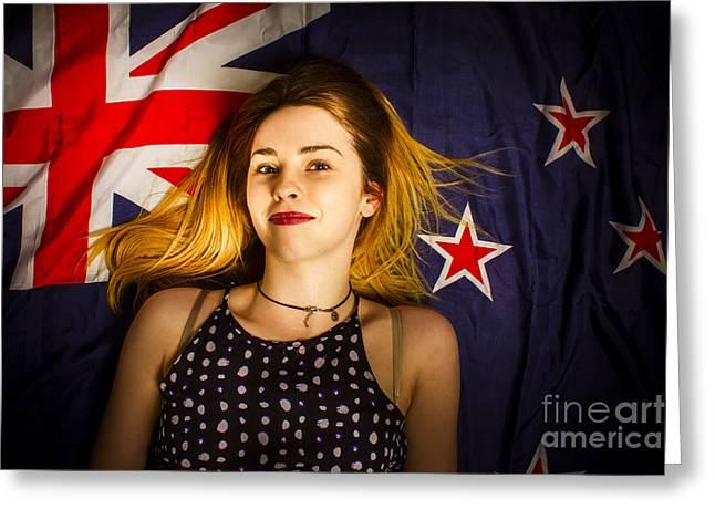 Woman Celebrating Australia Day On Australian Flag Greeting Card