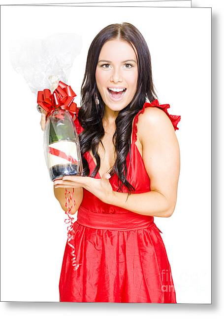 Woman Celebrating Success With Champagne Bottle Greeting Card
