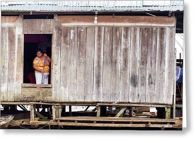 Woman Cleaning In Iquitos, Peru Greeting Card by Jess Kraft