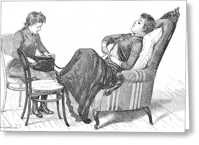 Woman Demonstrating Medical Vibrator Greeting Card