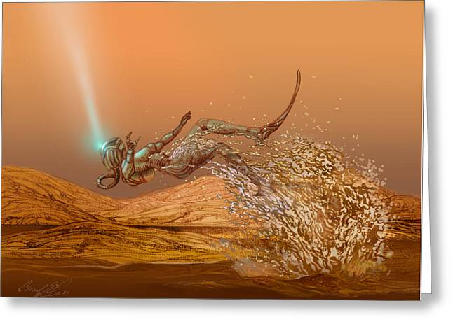 Woman Diver Emerges From A Lake On Titan Greeting Card