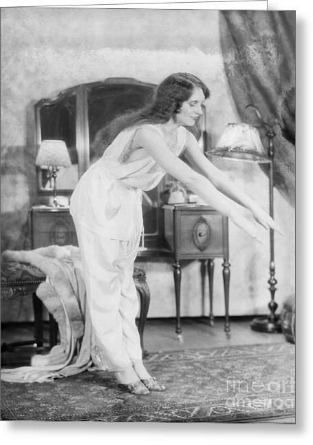 Woman Doing Calisthenics, C.1920s Greeting Card by H. Armstrong Roberts/ClassicStock