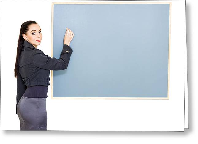 Woman Drawing Up Business Plan During Meeting Greeting Card by Jorgo Photography - Wall Art Gallery