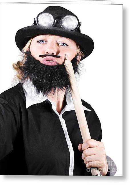 Woman Dressed Like Man With Large Pencil Greeting Card by Jorgo Photography - Wall Art Gallery