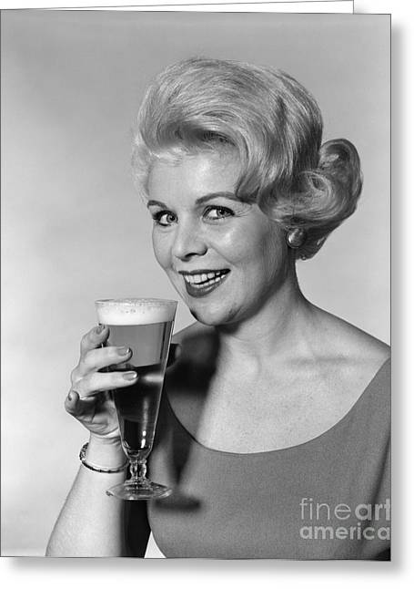 Woman Drinking Beer, C.1960s Greeting Card