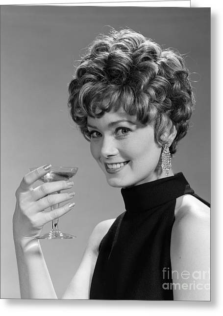 Woman Drinking Champagne, C.1960s Greeting Card by H. Armstrong Roberts/ClassicStock