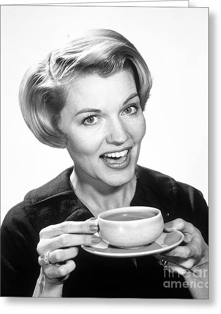 Woman Drinking Coffee, C.1960s Greeting Card by H. Armstrong Roberts/ClassicStock