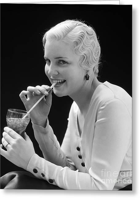 Woman Drinking Soda, C.1930s Greeting Card