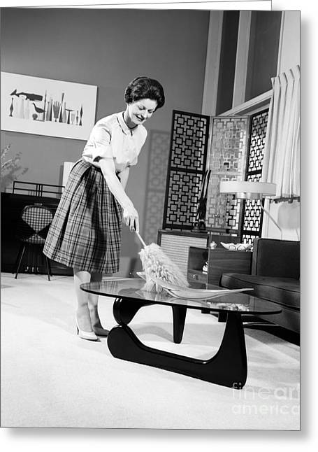 Woman Dusting, C.1950-60s Greeting Card by H. Armstrong Roberts/ClassicStock