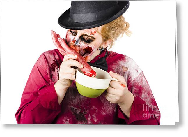 Woman Eating Bloody Hand Greeting Card by Jorgo Photography - Wall Art Gallery