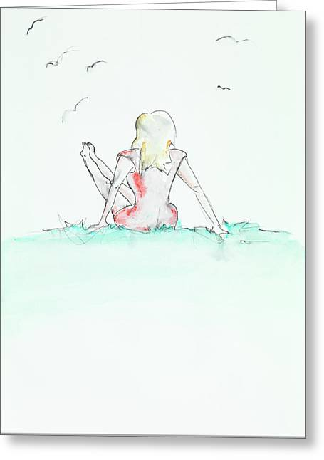 Woman Enjoying Her Time In Nature Greeting Card