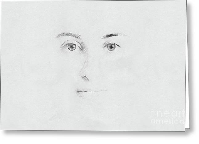 Woman Face Sketch On Paper Greeting Card by Radu Bercan