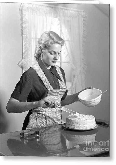 Woman Frosting A Cake, C.1940s Greeting Card