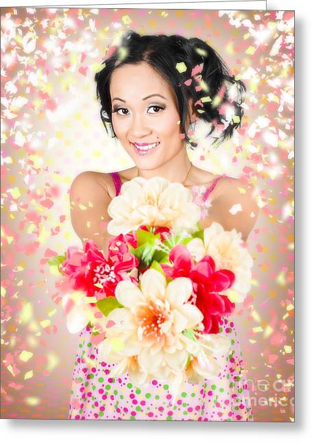 Woman Giving Flowers. Flower Delivery Greeting Card