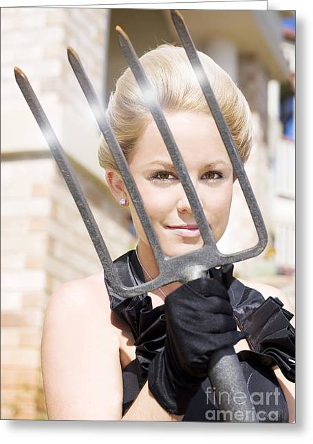 Woman Giving The Garden Forks Greeting Card by Jorgo Photography - Wall Art Gallery