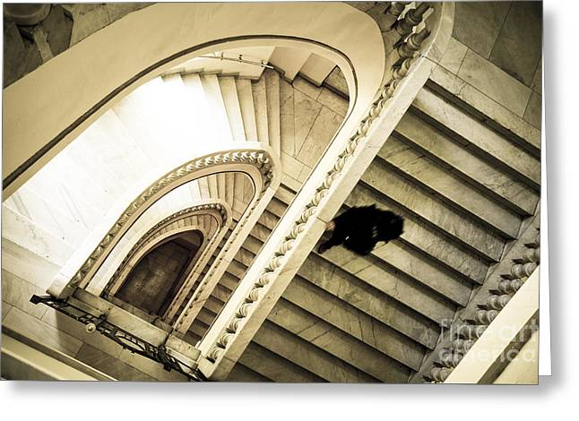 Woman Going Down At Staircase Greeting Card