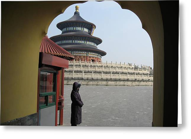Woman Guarding The Temple Of Heaven Greeting Card by James Lukashenko