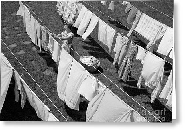 Woman Hanging Laundry, C.1950s Greeting Card