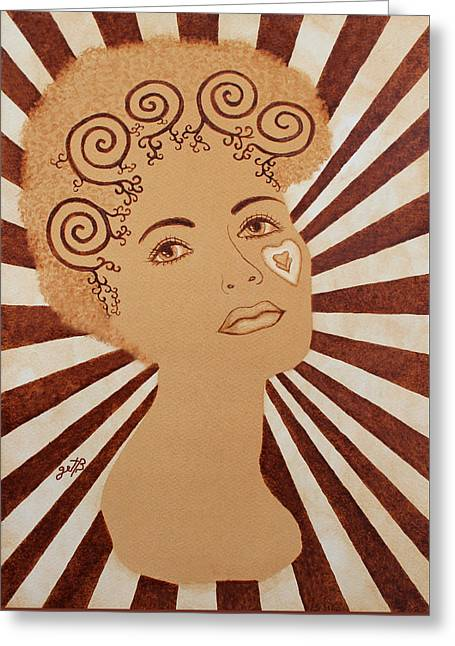 Woman Heart Face Tattoo Unfinished Original Coffee Painting Greeting Card