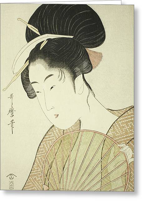Woman Holding A Round Fan Greeting Card by Kitagawa Utamaro