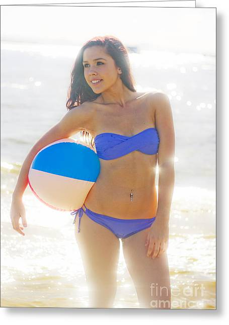 Woman Holding Beach Ball Greeting Card by Jorgo Photography - Wall Art Gallery