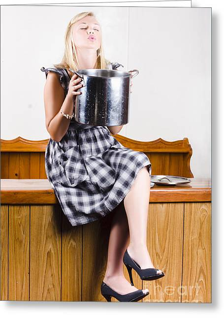 Woman Holding Hot Cooking Pot In Kitchen Greeting Card by Jorgo Photography - Wall Art Gallery