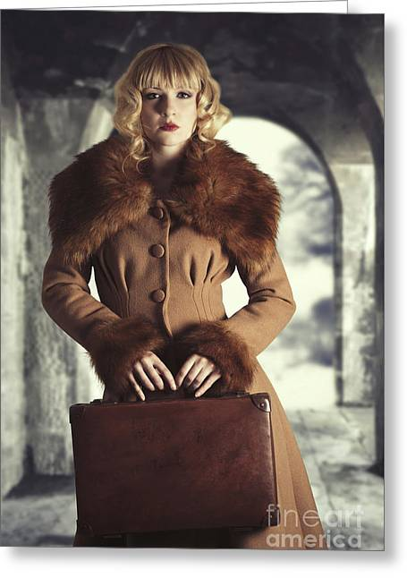 Woman Holding Suitcase Greeting Card